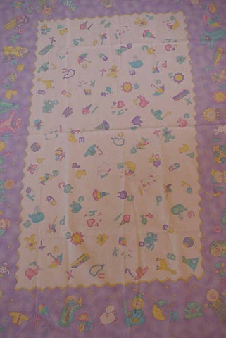 Baby Talk alphabet crib quilt flannel panel Moda