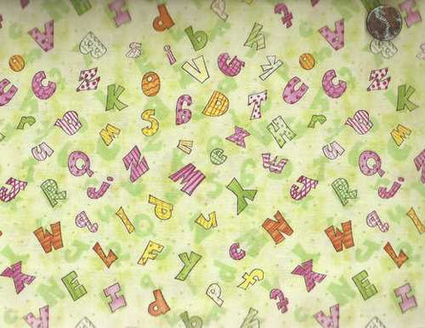 Baby's First Friends 29182 green ABC Wilmington fabric