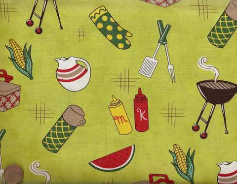 Barbeque green food Michael Miller fabric