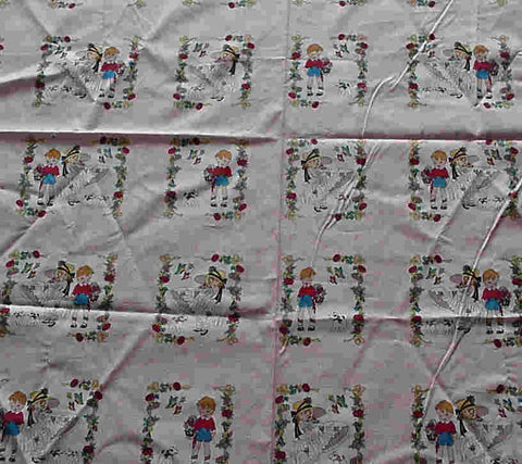 Be Mine blocks pink cute retro kids Camelot fabric