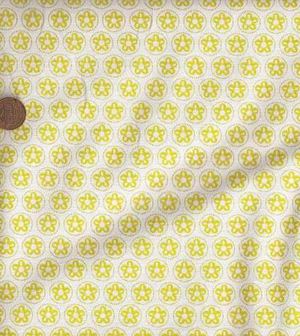 Belinda gold circles flowers stars Michael Miller fabric