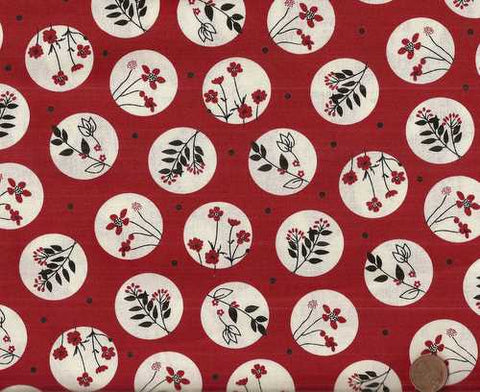 Black and White and Red Allover floral dots Windham fabric