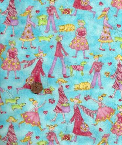 Princess Boutique girls pets hearts flannel Benartex fabric