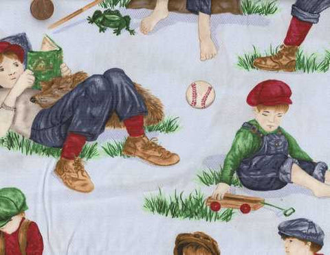 Boys Will Be Boys blue baseball Exclusively Quilters fabric