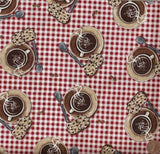 Cafe Decadence red coffee kitchen Henry Glass fabric