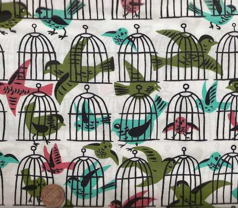 Cage Free birds Michael Miller fabric
