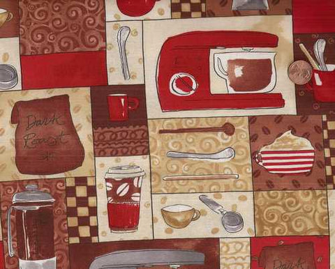 Coffee tan red brown kitchen appliances Timeless Treasures fabric