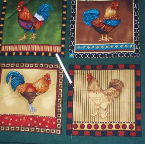 Down on the Farm roosters chickens blocks Kaufman fabric