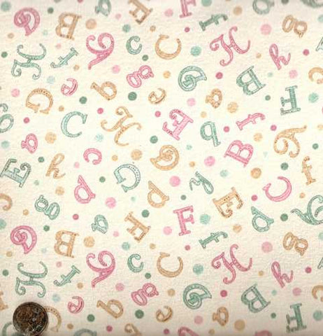 Fanciful Friends pink blue alphabet letters flannel David fabric