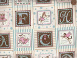 Fanciful Friends pink blue brown alphabet blocks David fabric