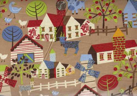 Farm Scenes tan Timeless Treasures fabric
