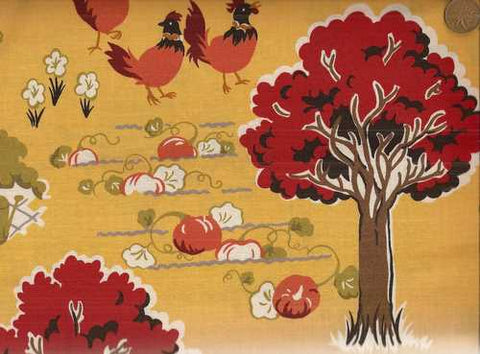 Farmyard scenic Moda gold barn chickens fabric