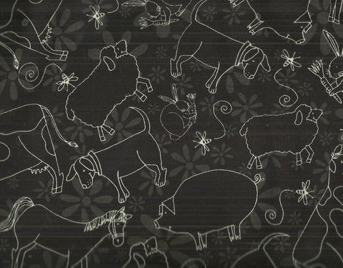Fun on the Farm black white farm animals Wilmington fabric