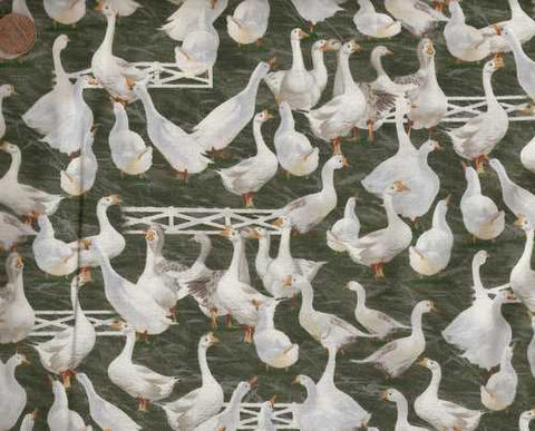 Down on Farm Geese Print Concepts fabric