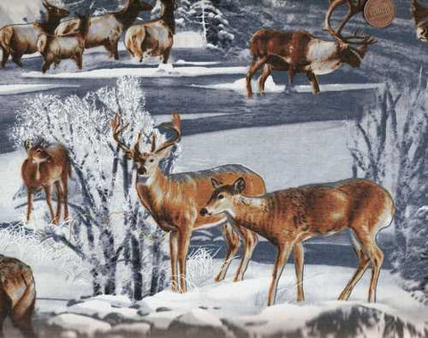 The Great North wildlife deer elk snow winter fabric