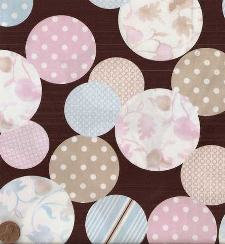 Harmonies 877bl 9 Brown pink blue Exclusively Quilters large dots fabric