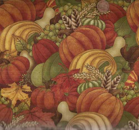 Harvest Rooster pumpkins squash autumn garden South Seas fabric