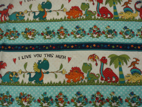 I Love You This Much dinosaur stripe children's fabric Henry Glass
