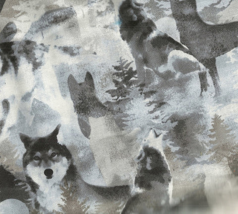 Into the woods wolves Benartex fabric