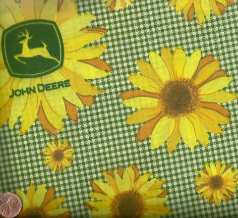 JD Patch sunflowers John Deere tractor farm fabric