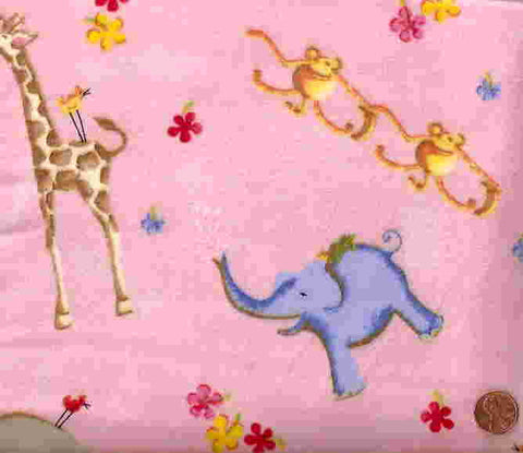Jungle Jamboree flannel pink animals Henry Glass fabric