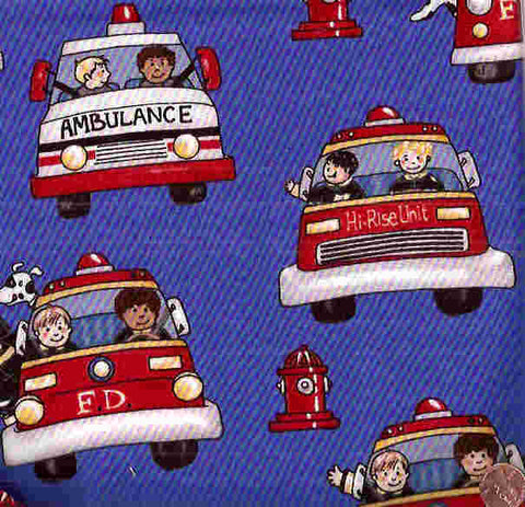 Fire ambulance rescue Timeless Treasures fabric