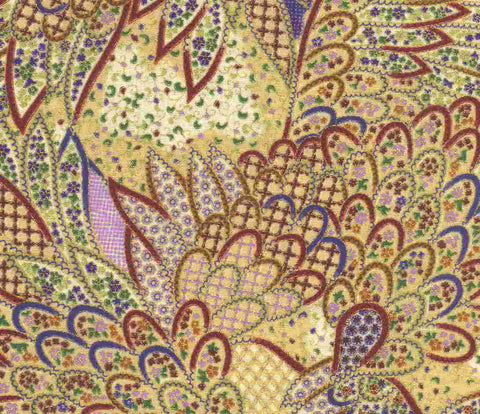 Madame Butterfly wings oriental metallic Moda fabric