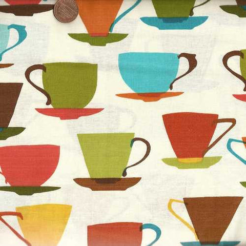 Metro Cafe vintage coffee cups kitchen Kaufman fabric