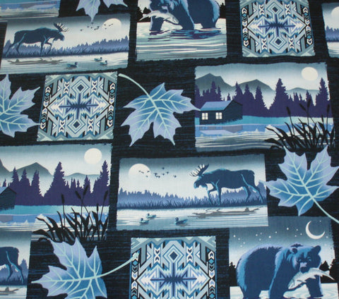 Moose Creek Lake blue patch wildlife fabric Sudio E
