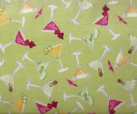 Muffintops lime cocktails kitchen Clothworks fabric