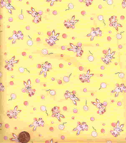 Off to Dreamland yellow pink bunnies childrens Exclusively Quilters fabric