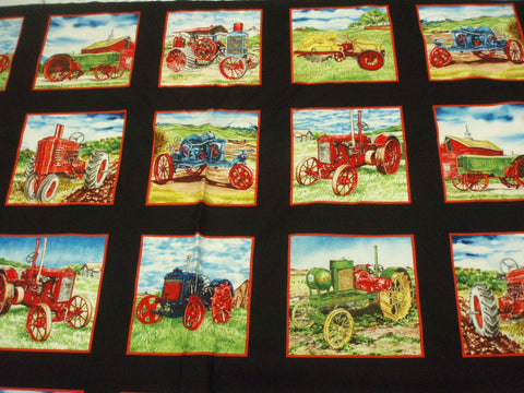 Vintage Tractors blocks panel farm Exclusively Quilters fabric