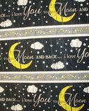 I Love You to the Moon stripe Timeless Treasures