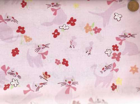 Paris Paws pink cats Alexander Henry fabric