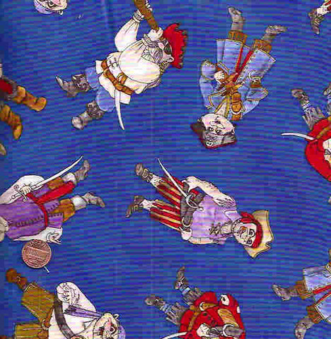 Pirates royal blue childrens Timeless Treasures fabric