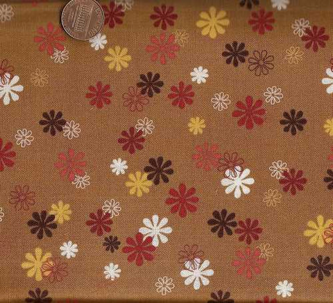 Playday 9806 brown tan gold funky flowers fabric
