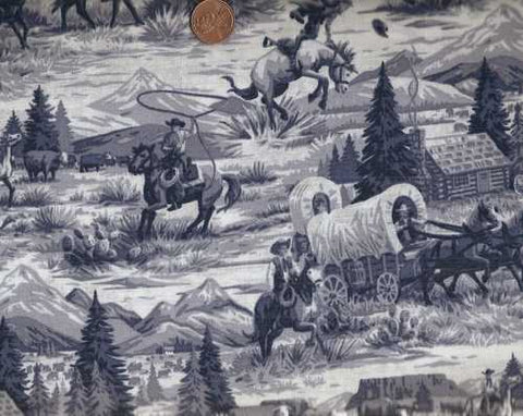 Rawhide toile navy western fabric