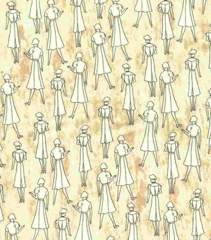 Read All About It ladies retro vintage tan Northcott fabric