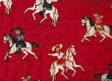 Round Up western children red cowgirls retro Rivers Bend fabric