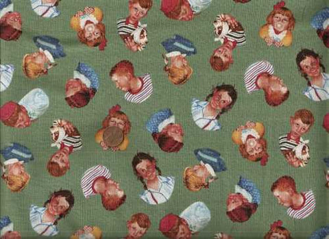 Rowdy kids green retro Quilting Treasures fabric