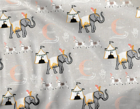 Night Circus gray elephants Camelot fabric