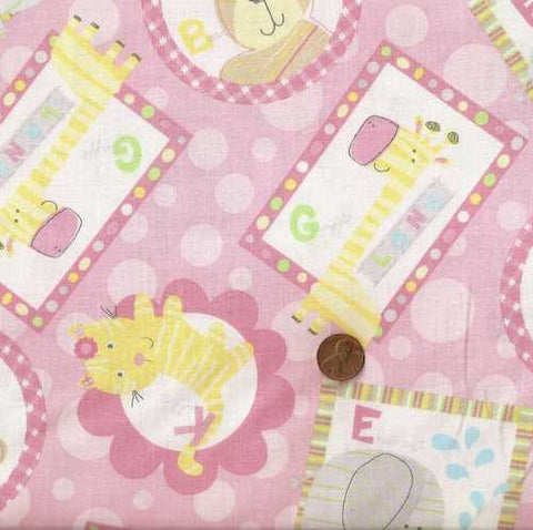 Simply Baby pink cute animals nursery fabric Windham