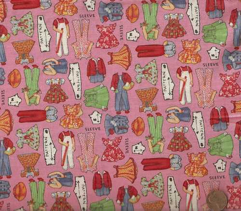 Wee Play pink paper doll clothes  American Jane Moda fabric