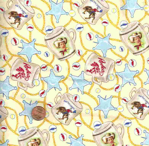 Souvenir Trail 1077 cream/yellow ropes, cowboys, western Michael Miller fabric