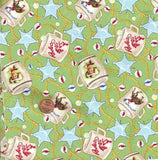 Souvenir Trail green retro cups western ropes stars Michael Miller fabric