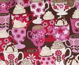Stacked Coffee Cups pink brown Timeless Treasures kitchen fabric