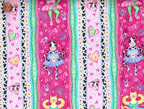 Sweetheart ballerina P127 pink dancing animals stripe Quilting Treasures