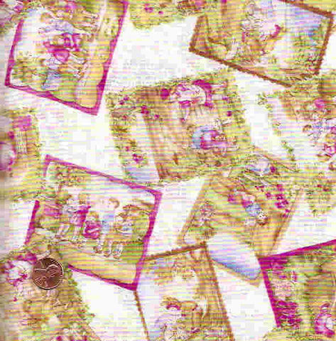 Tiny Treasures retro kids postcards RJR fabric