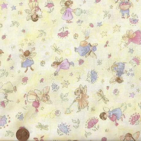Tossed small fairies on yellow Timeless Treasures children's fabric