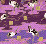Travel the Orient purple cranes Camelot fabric